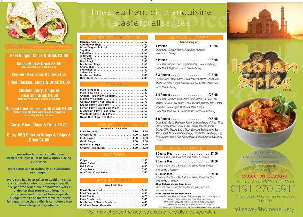 Indian Spice in Pelton Menu, Page 2