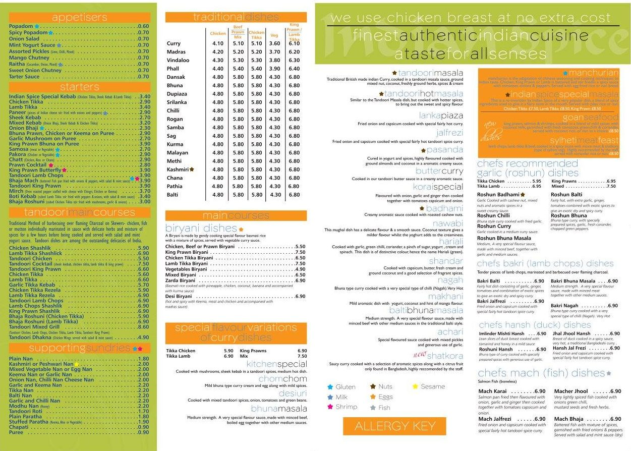 Indian Spice in Pelton Menu, page 1